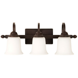 Madison Aged Bronze Textured Three-Light Vanity with White Frosted Glass Shade