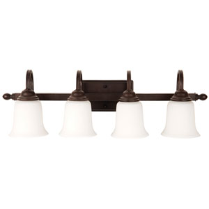 Madison Aged Bronze Textured Four-Light Vanity with White Frosted Glass Shade