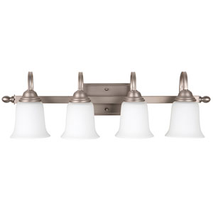 Madison Brushed Satin Nickel Four-Light Vanity with White Frosted Glass Shade