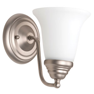 Cathryn Brushed Satin Nickel One-Light Bath Sconce with White Frosted Glass Shade