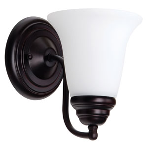 Cathryn Oiled Bronze One-Light Bath Sconce with White Frosted Glass Shade