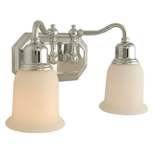 Heritage Chrome Two-Light Bath Fixture with Frosted White Glass