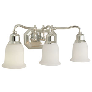 Heritage Chrome Three-Light Bath Fixture with Frosted White Glass