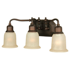 Heritage Oiled Bronze Gilded Three-Light Bath Fixture with Tea-Stained Glass