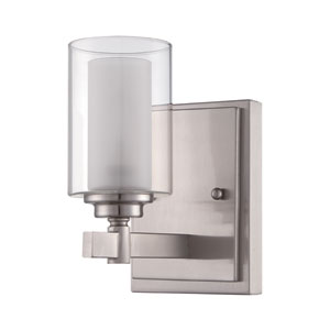 Celeste Brushed Polished Nickel One-Light Vanity with Frosted Glass
