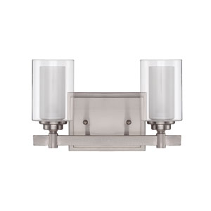 Celeste Brushed Polished Nickel Two-Light Vanity with Frosted Glass