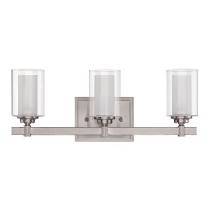 Celeste Brushed Polished Nickel Three-Light Vanity with Frosted Glass