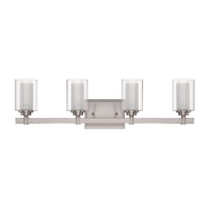 Celeste Brushed Polished Nickel Four-Light Vanity with Frosted Glass