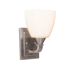 Lawton Brushed Nickel One-Light Bath Sconce with White Frosted Glass Shade