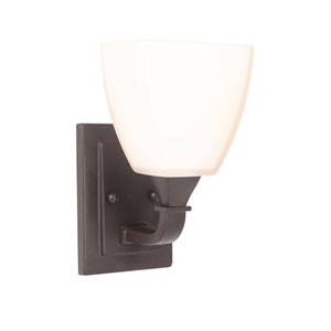 Lawton Espresso One-Light Bath Sconce with White Frosted Glass Shade