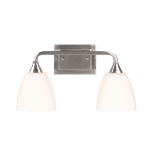 Lawton Brushed Nickel Two-Light Vanity with White Frosted Glass Shade