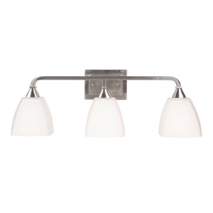 Lawton Brushed Nickel Three-Light Vanity with White Frosted Glass Shade