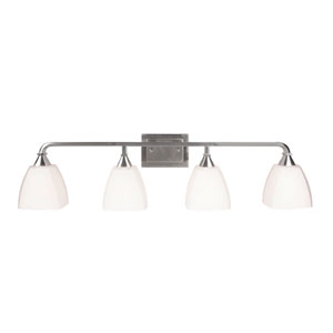 Lawton Brushed Nickel Four-Light Vanity with White Frosted Glass Shade