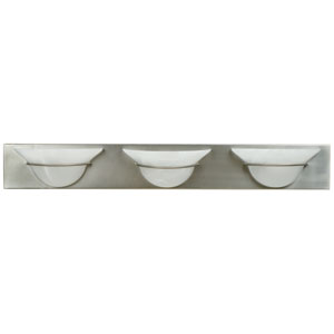 Moonglow Brushed Nickel Three-Light Bath Fixture
