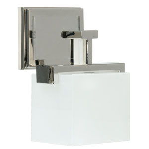Kade Polished Nickel One-Light Bath Fixture with Frosted Glass