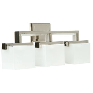 Kade Polished Nickel Three-Light Bath Fixture with Frosted Glass