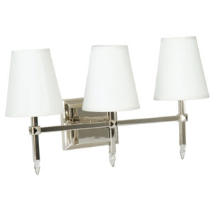 Garnett Polished Nickel Three-Light Bath Fixture with Off-White Shades