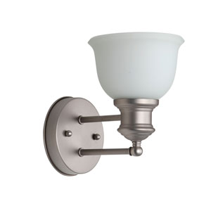 Light Rail Brushed Satin Nickel One-Light Bath Sconce with White Frosted Glass Shade