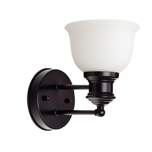 Light Rail Oiled Bronze One-Light Bath Sconce with White Frosted Glass Shade