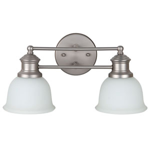 Light Rail Brushed Satin Nickel Two-Light Vanity with White Frosted Glass Shade