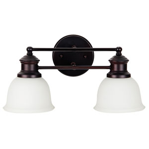 Light Rail Oiled Bronze Two-Light Vanity with White Frosted Glass Shade