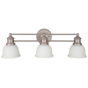 Light Rail Brushed Satin Nickel Three-Light Vanity with White Frosted Glass Shade