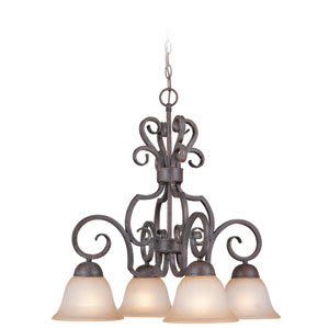 Sheridan Forged Metal Four Light Down Chandelier
