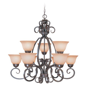 Sheridan Forged Metal Nine Light Chandelier