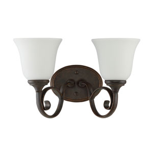 Barrett Place Mocha Bronze Two-Light Vanity with White Frosted Glass Shade