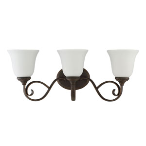 Barrett Place Mocha Bronze Three-Light Vanity with White Frosted Glass Shade