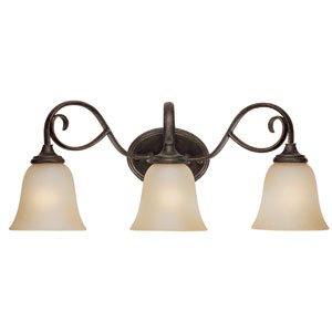 Barret Place Mocha Bronze Three Light Vanity
