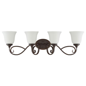 Barrett Place Mocha Bronze Four-Light Vanity with White Frosted Glass Shade