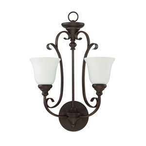 Barrett Place Mocha Bronze Two-Light Wall Sconce with White Frosted Glass Shade