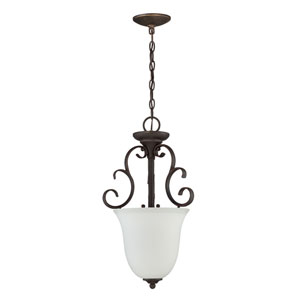 Barrett Place Mocha Bronze Three-Light Chandelier with White Frosted Glass Shade