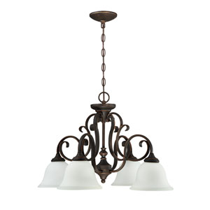 Barrett Place Mocha Bronze Four-Light Chandelier with White Frosted Glass Shade