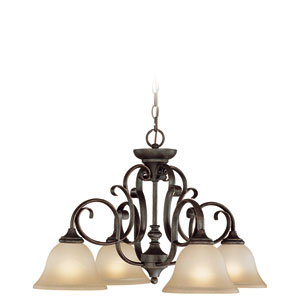 Barret Place Mocha Bronze Four Light Down Chandelier