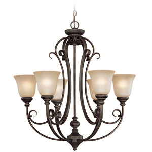 Barret Place Mocha Bronze Six Light Chandelier