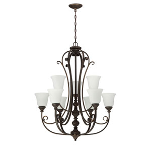 Barrett Place Mocha Bronze Nine-Light Chandelier with White Frosted Glass Shade