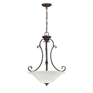Barrett Place Mocha Bronze Three-Light Pendant with White Frosted Glass Shade