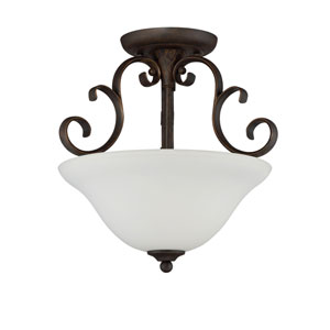 Barrett Place Mocha Bronze Three-Light Semi-Flush Mount with White Frosted Glass Shade
