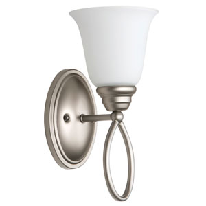 Cordova Satin Nickel One-Light Bath Sconce with White Frosted Glass Shade