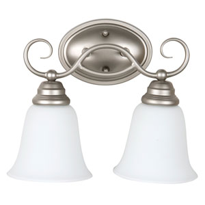 Cordova Satin Nickel Two-Light Vanity with White Frosted Glass Shade