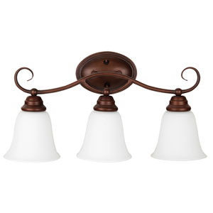 Cordova Old Bronze Three-Light Vanity with White Frosted Glass Shade