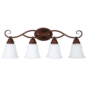 Cordova Old Bronze Four-Light Vanity with White Frosted Glass Shade