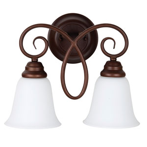 Cordova Old Bronze Two-Light Wall Sconce with White Frosted Glass Shade