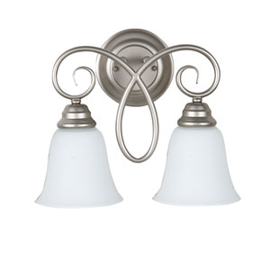Cordova Satin Nickel Two-Light Wall Sconce with White Frosted Glass Shade
