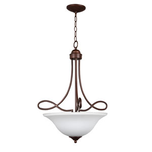 Cordova Old Bronze Three-Light Pendant with White Frosted Glass Shade