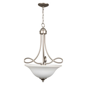 Cordova Satin Nickel Three-Light Pendant with White Frosted Glass Shade
