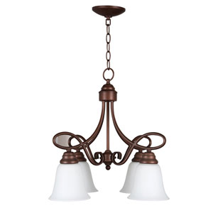 Cordova Old Bronze Four-Light Chandelier with White Frosted Glass Shade