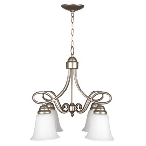 Cordova Satin Nickel Four-Light Chandelier with White Frosted Glass Shade